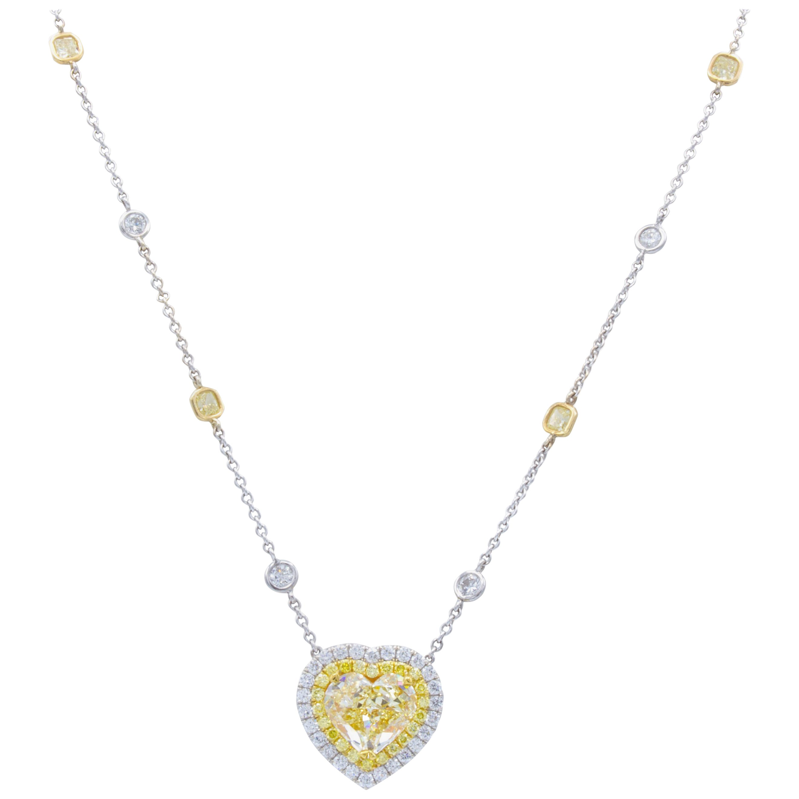 David Rosenberg 3.97 Carat GIA Fancy Light Yellow Heart Shape Diamond Necklace