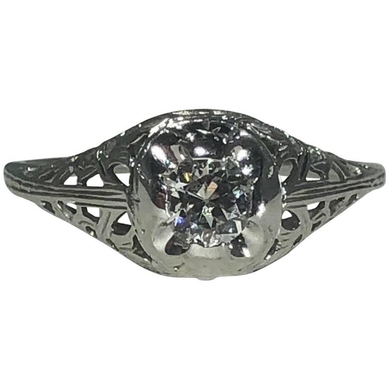 Art Deco 18 Karat .29 Carat Old European Cut Diamond Solitaire Engagement Ring For Sale