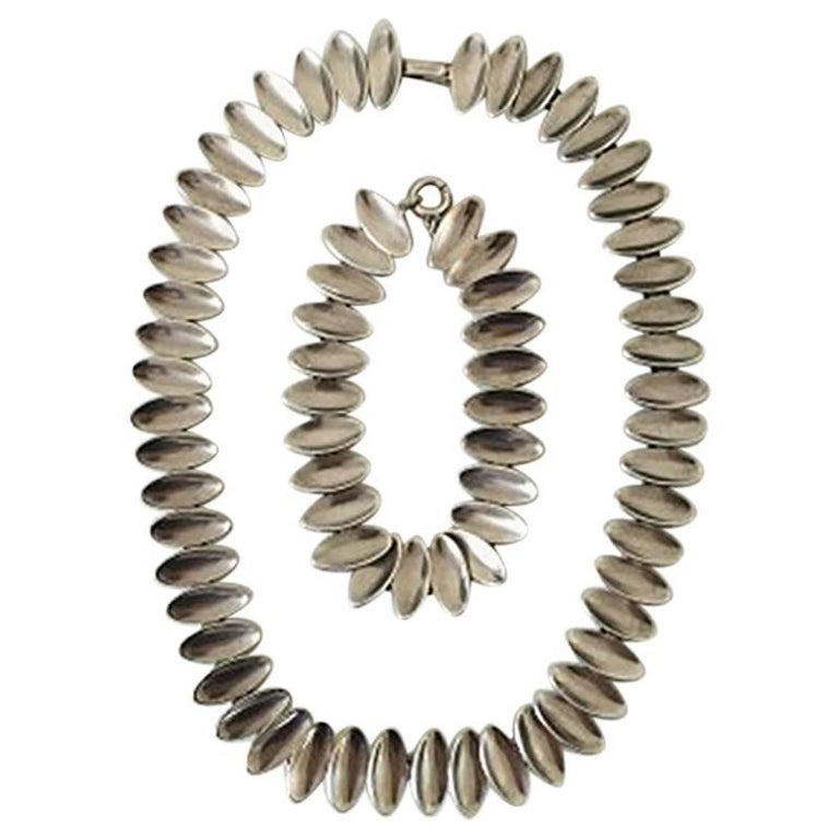 Anton Michelsen Sterling Silver Necklace and Bracelet Nanna Ditzel Style