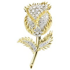 18 Karat Gold and Platinum Diamond Flowering Thistle Pendant or Brooch