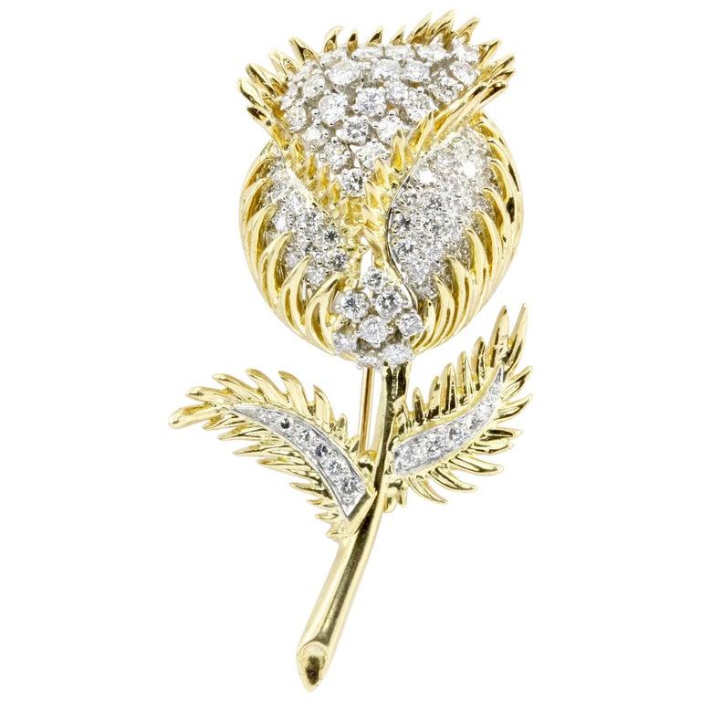 18 Karat Gold and Platinum Diamond Flowering Thistle Pendant or Brooch