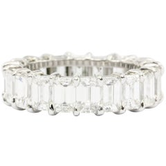 Platinum 5.5 Carat Total Emerald Cut Diamond Eternity Band