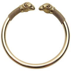 Late Victorian 18 Karat Gold Ram's Head Bangle Bracelet