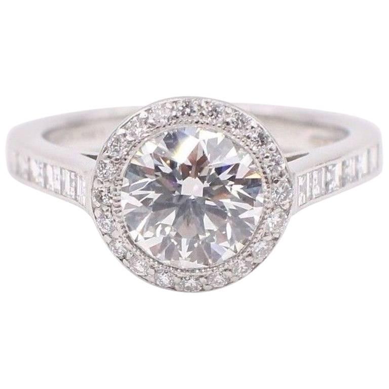 Tiffany & Co Diamond Engagement Ring Round Brilliant 2.27 TCW Bead Set Platinum