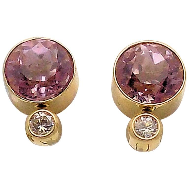 14 Karat Yellow Gold Bezel Set Kunzite and Diamond Stud Earrings