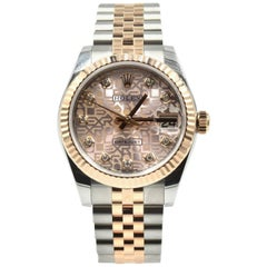 Rolex Datejust Mid-Size Two-Tone 18 Karat Everose Gold Diamond Dial Watch 178271