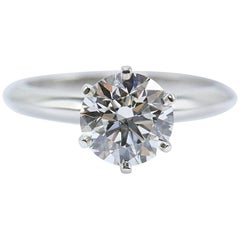 Tiffany & Co. Round Brilliant Diamond Engagement Ring 1.68 Carat G VVS2 Platinum