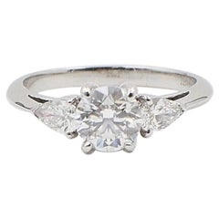 Tiffany & Co. Three-Stone Diamond Engagement Ring 1.60 Carat E VVS1 Platinum