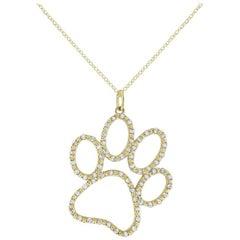 Jumbo Diamond Paw Necklace by KC Designs