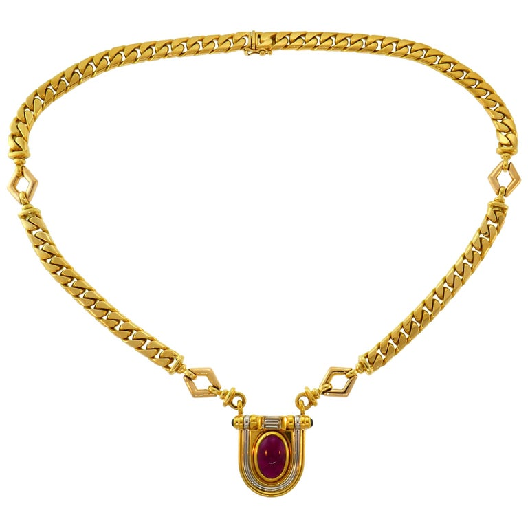 Bulgari serpenti diamond gold necklace at 1stdibs bulgari ruby diamond yellow gold chain necklace 1970s aloadofball