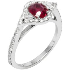 18k White Gold Ruby Weighing 1.02 Carat Diamond Cluster Cocktail Ring
