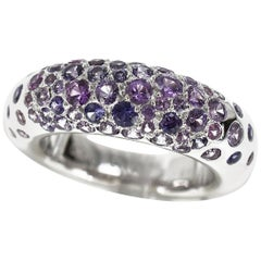 Chaumet Anneau Caviar Pink Sapphire 18 Karat White Gold Ring