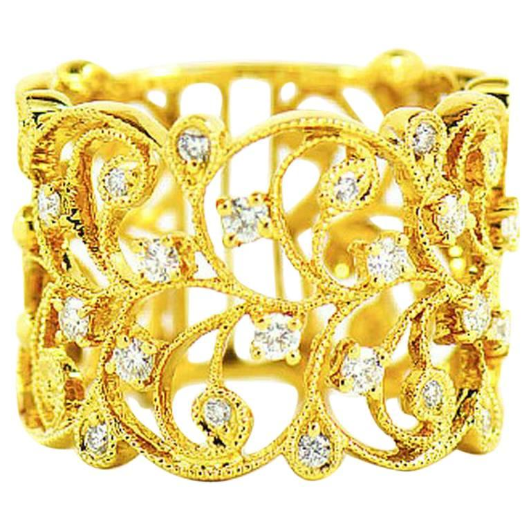 Diamond Filigree Floral Wide Band, 18 Karat Yellow Gold