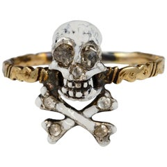 Antique Skull and Bones Diamond Memento Mori Ring