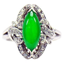 Imperial Green Jadeite jade Marquise Shape cabochon and Diamond Ring, GIA