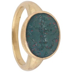 18th Century Heliotrope Bloodstone Intaglio Ring