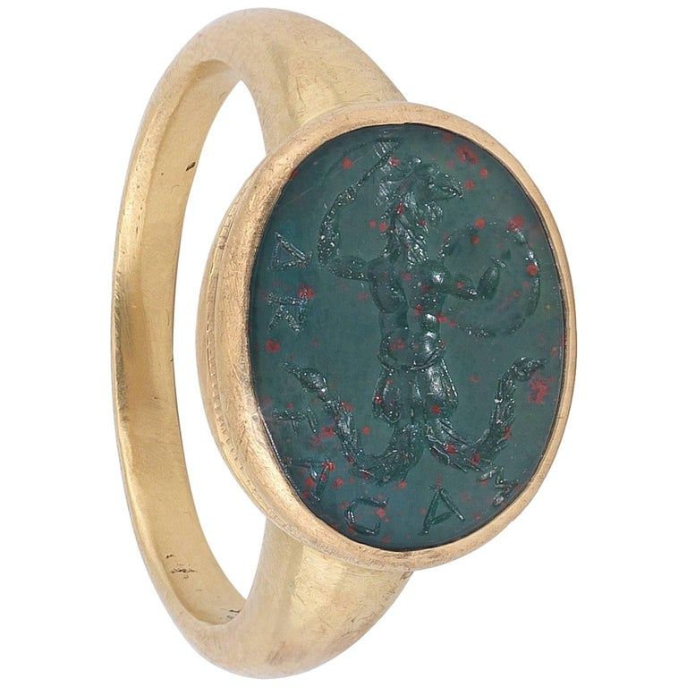 18th Century Heliotrope Bloodstone Intaglio Ring