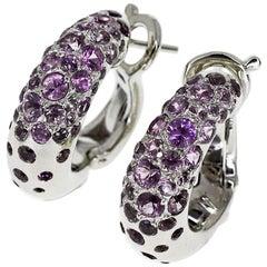 Chaumet Anneau Caviar Purple Sapphire Earrings MM 18 Karat White Gold