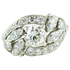 Art Deco 1.88 Carat I,VS1 Diamond Cluster Halo Platinum Engagement Ring