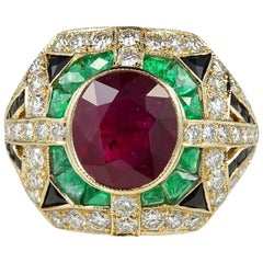 Hawkantiques Impressive 2.97 Carat Ruby Diamond and More Mosaic Ring