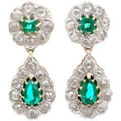 Antique Victorian 3.18 Carat Emerald and 3.23 Carat Diamond, Gold Drop Earrings