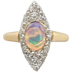 1910s Opal and Diamond Yellow Gold Marquise Ring
