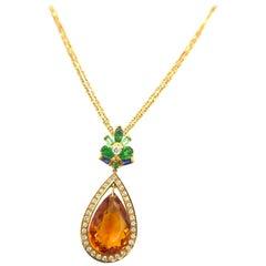 Pear 16.72 Carat Citrine Diamond Peridot Tsavorite Sapphire Gold Pendant Chain