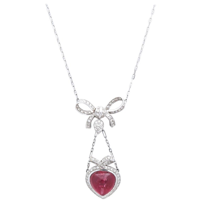 Cabochon 13.02 Carat Rubelite Diamond Heart and Ribbon White Gold Pendant Chain