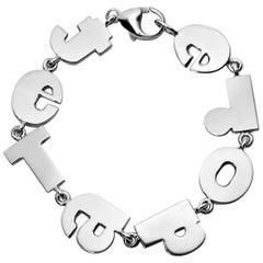 """Je T'Adore"" Sterling Silver Bracelet"