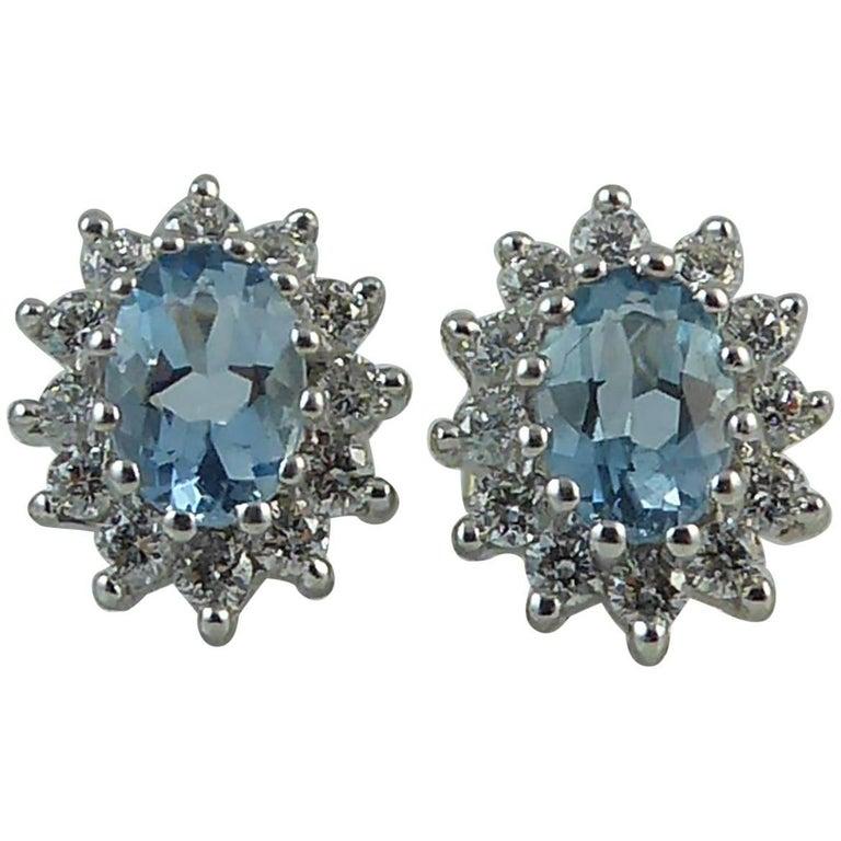 1.0 Carat Aquamarine Diamond Stud Earrings, White Gold, Hallmarked London, 2010