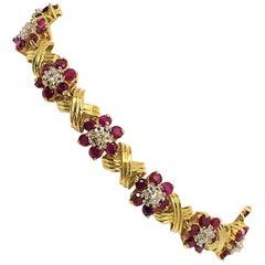 14 Karat Yellow Gold Ruby and Diamond Bracelet