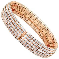 17.05 Carat 18 Karat Rose Gold Flexible Bracelet