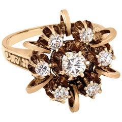 Vintage .75 Carat Diamond Ring with Blue Enamel Accents in 14 Karat Yellow Gold