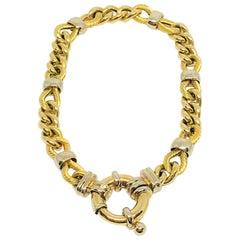 18 Karat Two-Tone Ladies Fancy Link Bracelet