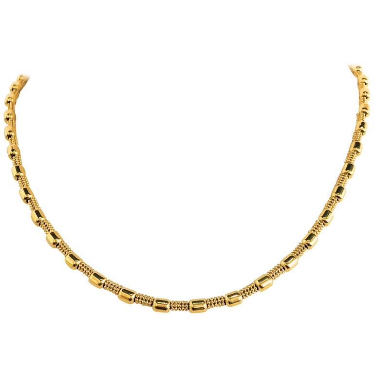 18 Karat Yellow Gold Fancy Bead Chain Necklace