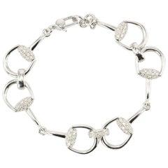 Gucci White Gold Diamond Horse Bit Bracelet