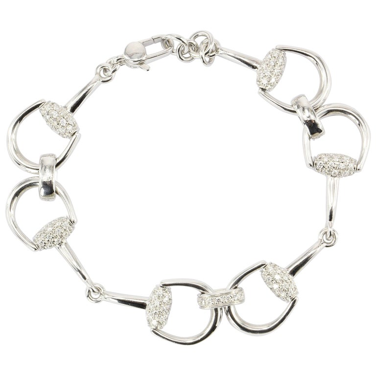 Gucci White Gold Diamond Horse Bit Bracelet