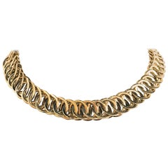 14 Karat Yellow Gold Large Circle Link Choker Necklace
