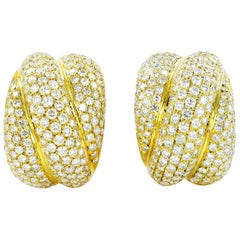 Elegant Diamond 18K Yellow Gold Dome Earclips