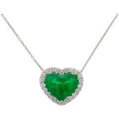 Heart Emerald Diamond White Gold Pendant Necklace