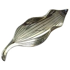 Anton Michelsen Leafshaped Brooch in Sterling Silver Designed by Gertrud Engel