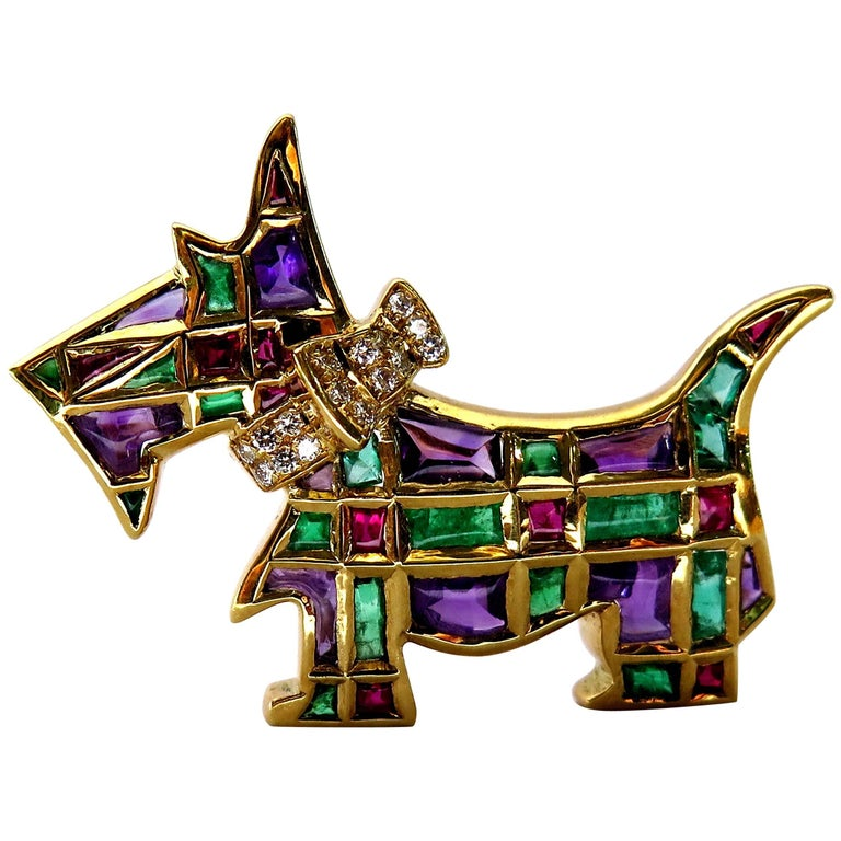 Timeless Scottie Dog Diamond and Gemstone Gold Pin Looking For Forever Home For Sale