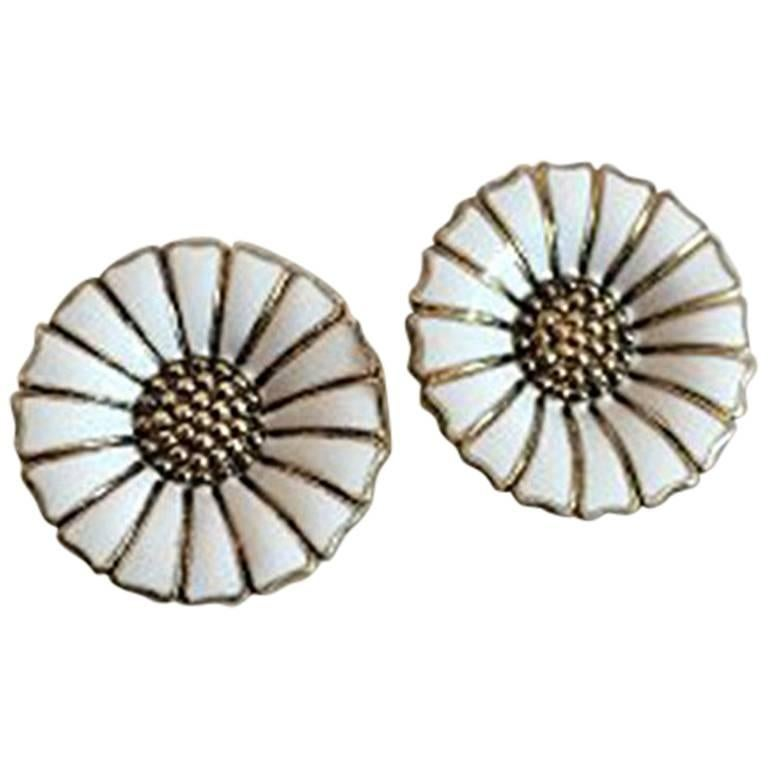 Anton Michelsen Daisy/Marguerite Earclips in Gilded Sterling Silver and Enamel