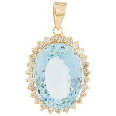 52 Carat Aquamarine Diamond Pendant