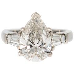 GIA Certified 3.06 Carat Pear Shaped Diamond Engagement Ring