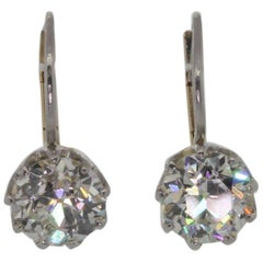 Dangling Diamond Platinum Gold Earrings