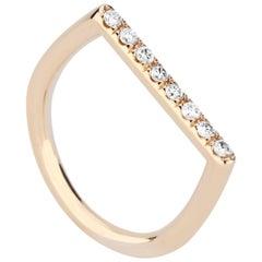 14 Karat Yellow Gold and White Diamond Stacking Square Ring
