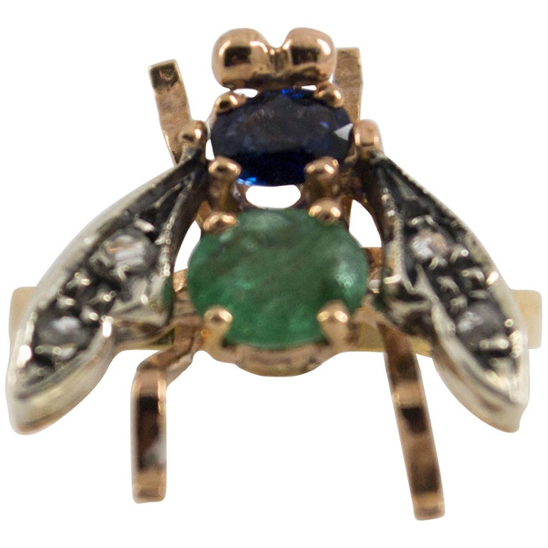 """1.50 Carat Sapphire Emerald Diamond Yellow Gold Cocktail """"Fly"""" Ring"""