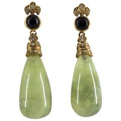 Jade Onyx 0.35 Carat Diamond Yellow Gold Stud Earrings