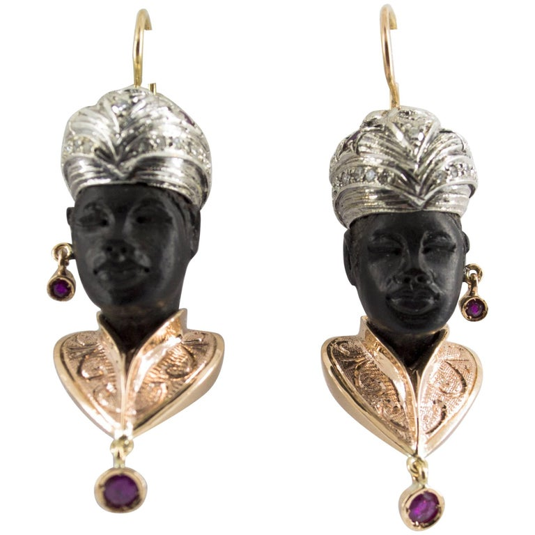 "1.80 Carat Ruby 0.48 Carat Diamond Ebony Yellow Gold ""Moor of Venice"" Earrings"